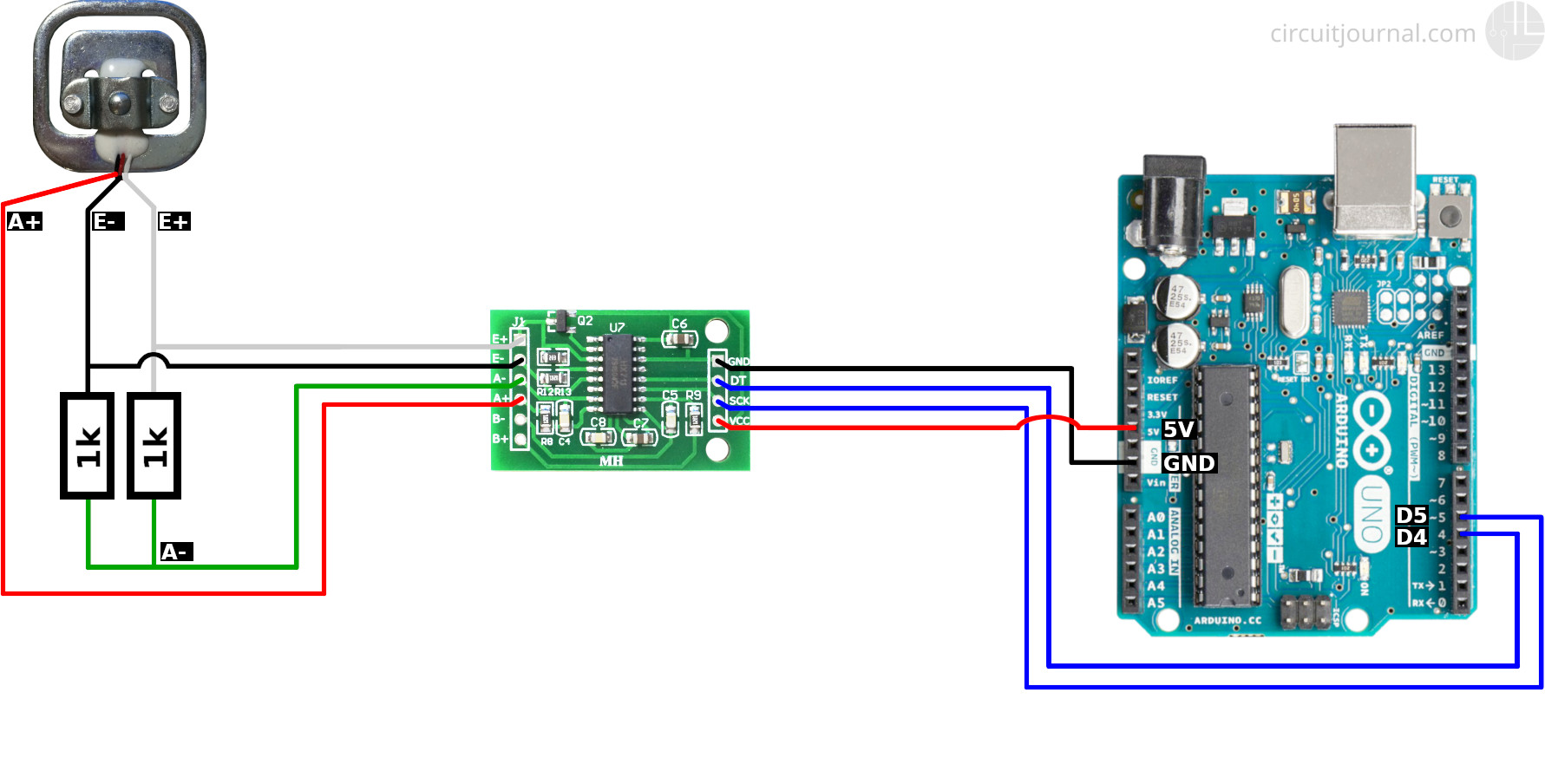 Connecting a single bathroom scale load cell module to Arduino with the HX711 module