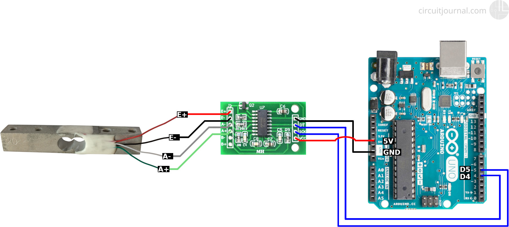 Four Wire Load Cell With Hx711 And Arduino