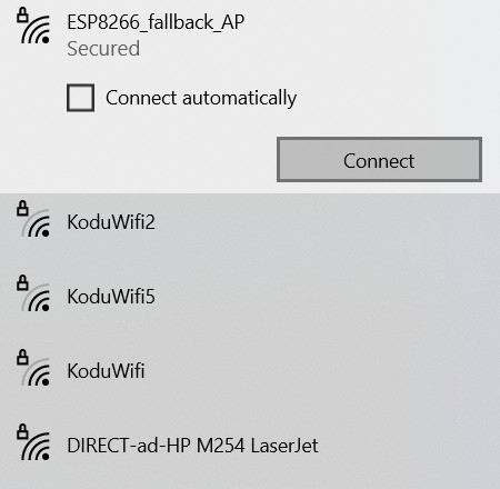 ESP8266 access point in the Wi-Fi list